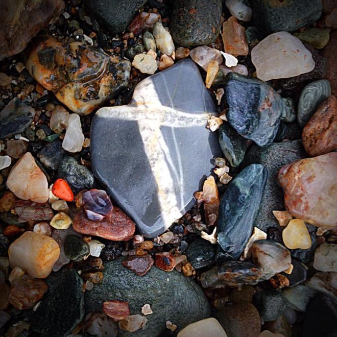 Cross on stone